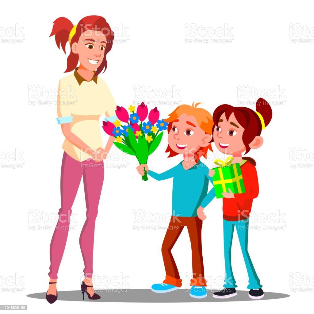 Kinderen Geven Bloemen En Geschenken Moeder Vector Heden