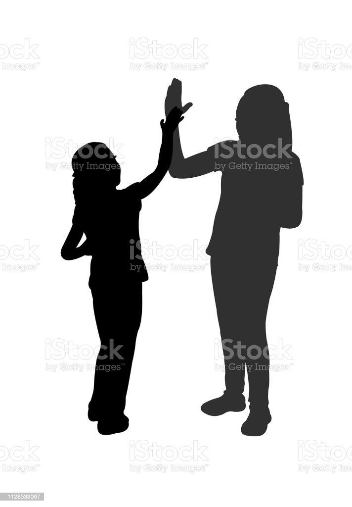 children, give me five, silhouette vector vector art illustration
