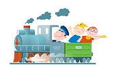 Children go by train