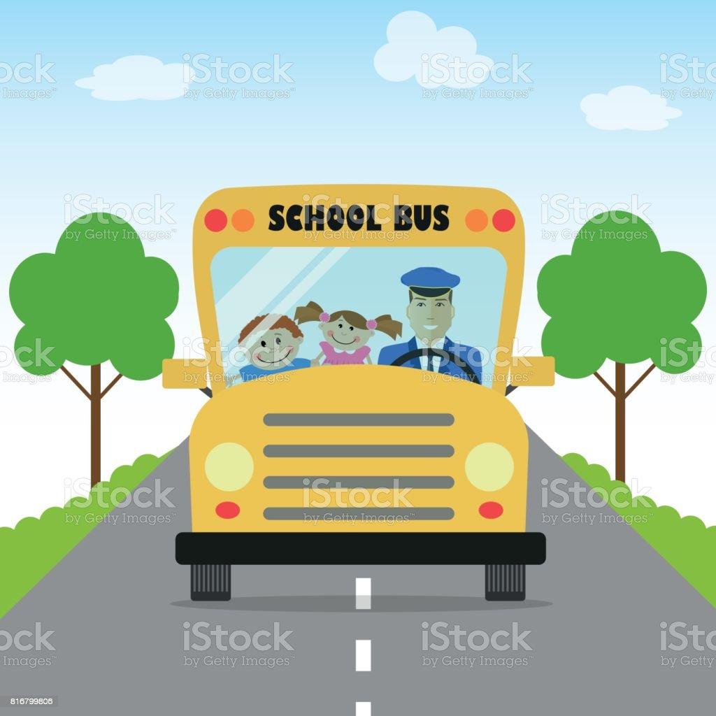 子供が学校でバスに行く ベクターアートイラスト