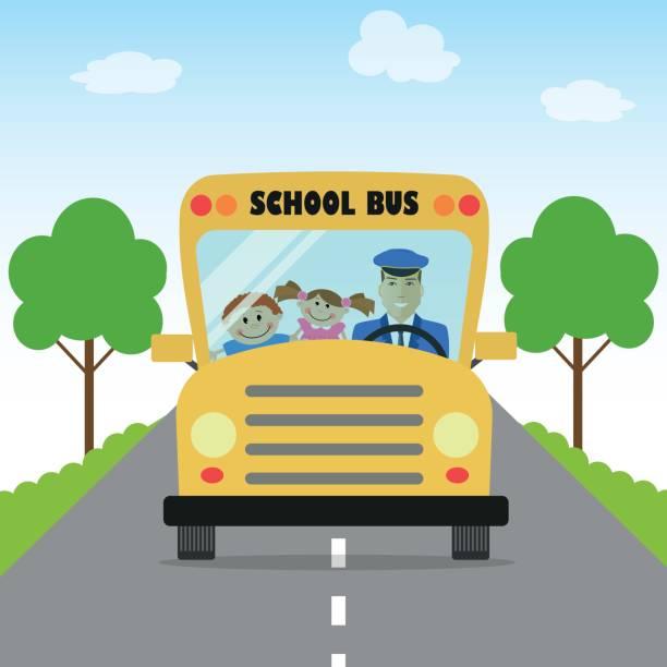illustrations, cliparts, dessins animés et icônes de enfants vont à l'école par autobus - nuage 6