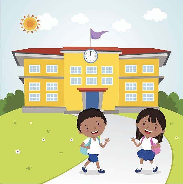 stockillustraties, clipart, cartoons en iconen met children go to school - schooluniform