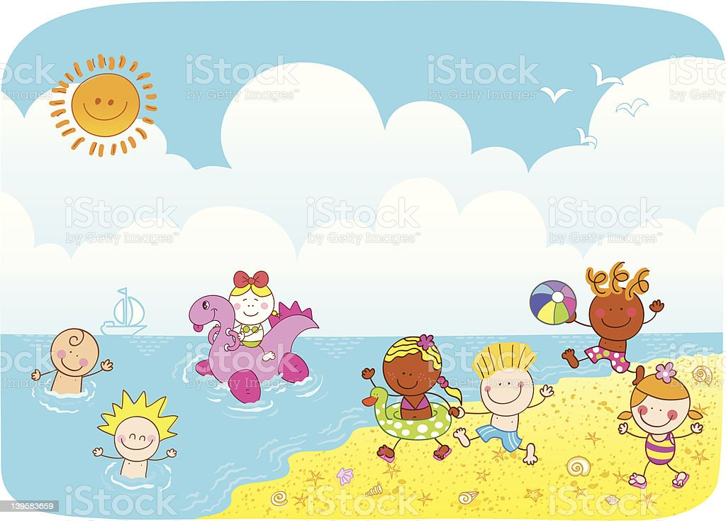 Kinder Gehencartoon Illustration Stock Vektor Art und mehr Bilder ...