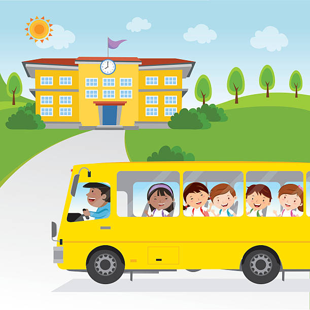 ilustraciones, imágenes clip art, dibujos animados e iconos de stock de children going to school by bus - autobuses escolares