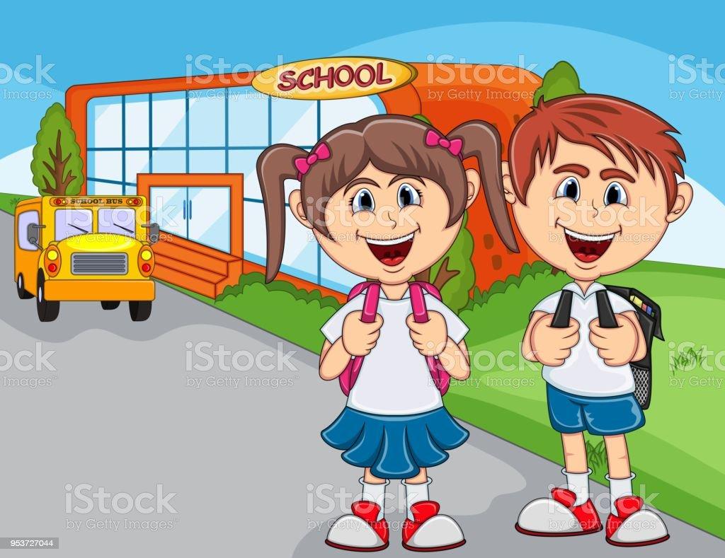Ilustración De Niños Que Van A Dibujos Animados Escuela Y Más