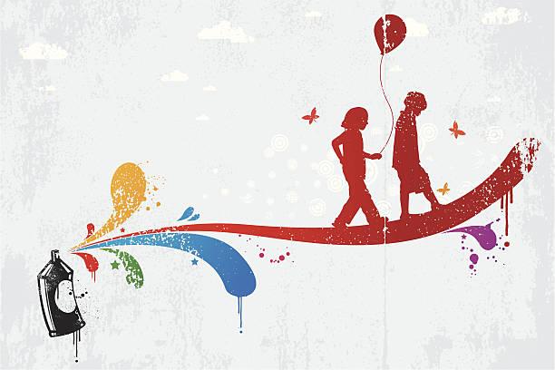 kinder-graffiti - kindersprüche stock-grafiken, -clipart, -cartoons und -symbole