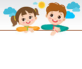 Cute Kids Holding White Blank Board Vector Illustration. Cute Boy And Girl Hold Banner. Happy Children Isolated On White Background. Children Group Holding Blank White Board Copy Space.
