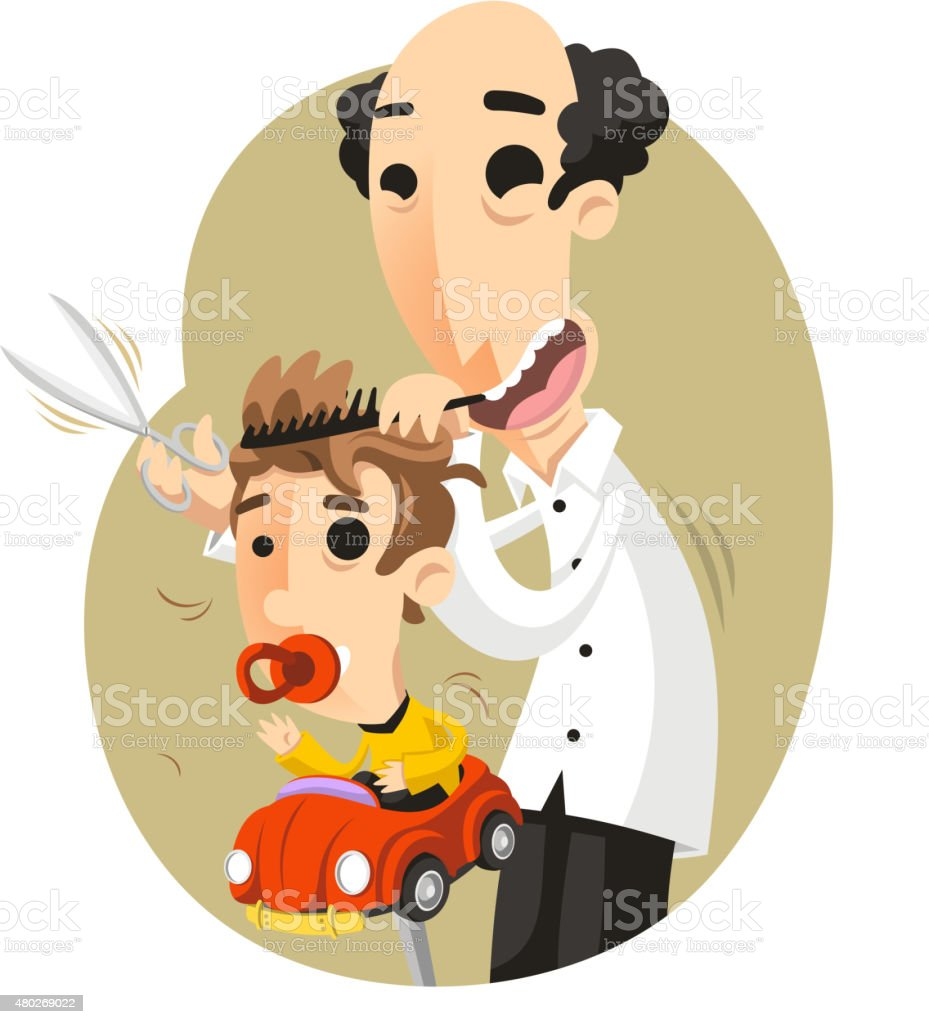 Children Hairdresser Hairstylist vector art illustration
