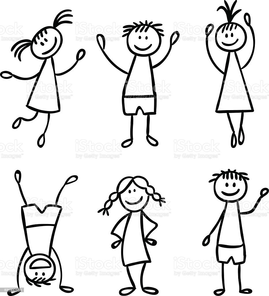 Line Drawing Of Child S Face : Children hand drawn vector set stock art more