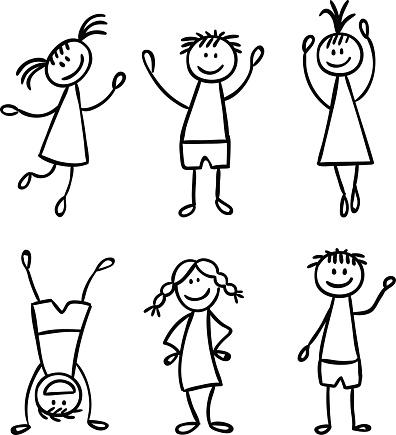 Children hand drawn vector set
