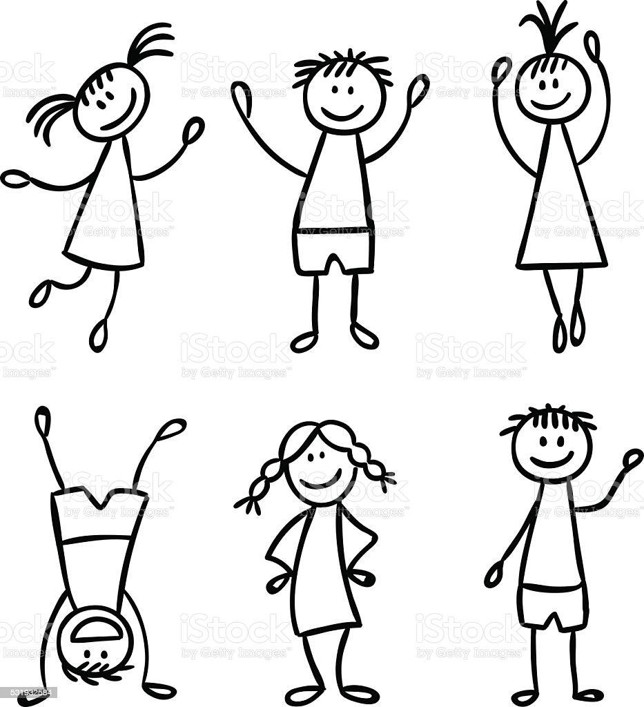 Enfants de vecteur ensemble dessiné à la main - Illustration vectorielle
