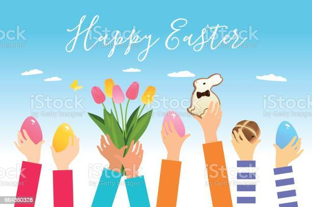 Children hands with easter eggs and symbols vector id664360328?b=1&k=6&m=664360328&s=612x612&h=fuwmhxsgjez1c7 vc7mptniabd c gukkueyadrr ye=