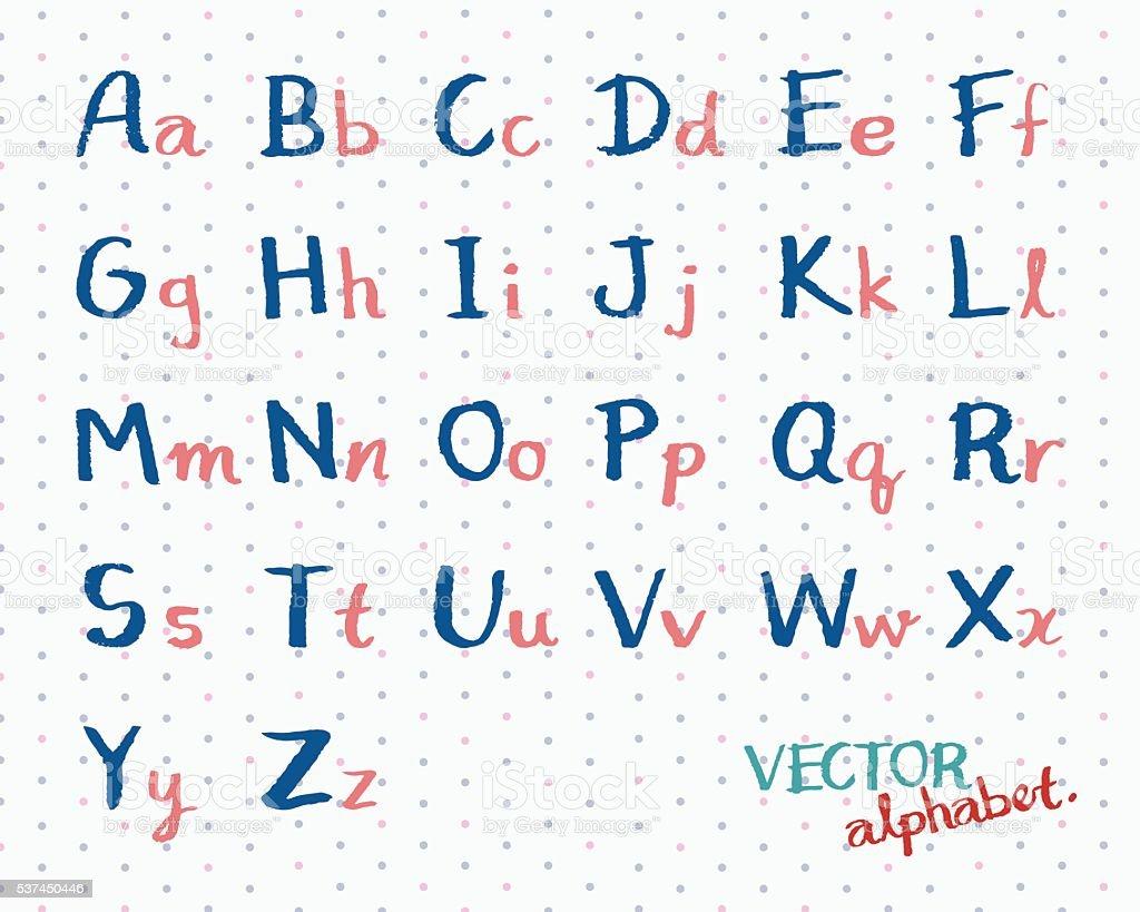 Children Handwritten Alphabet Vector English Font Letters