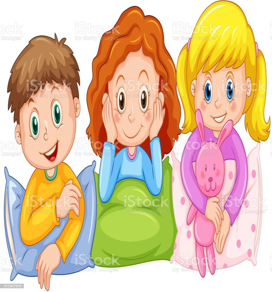 Children happy at slumber party vector art illustration