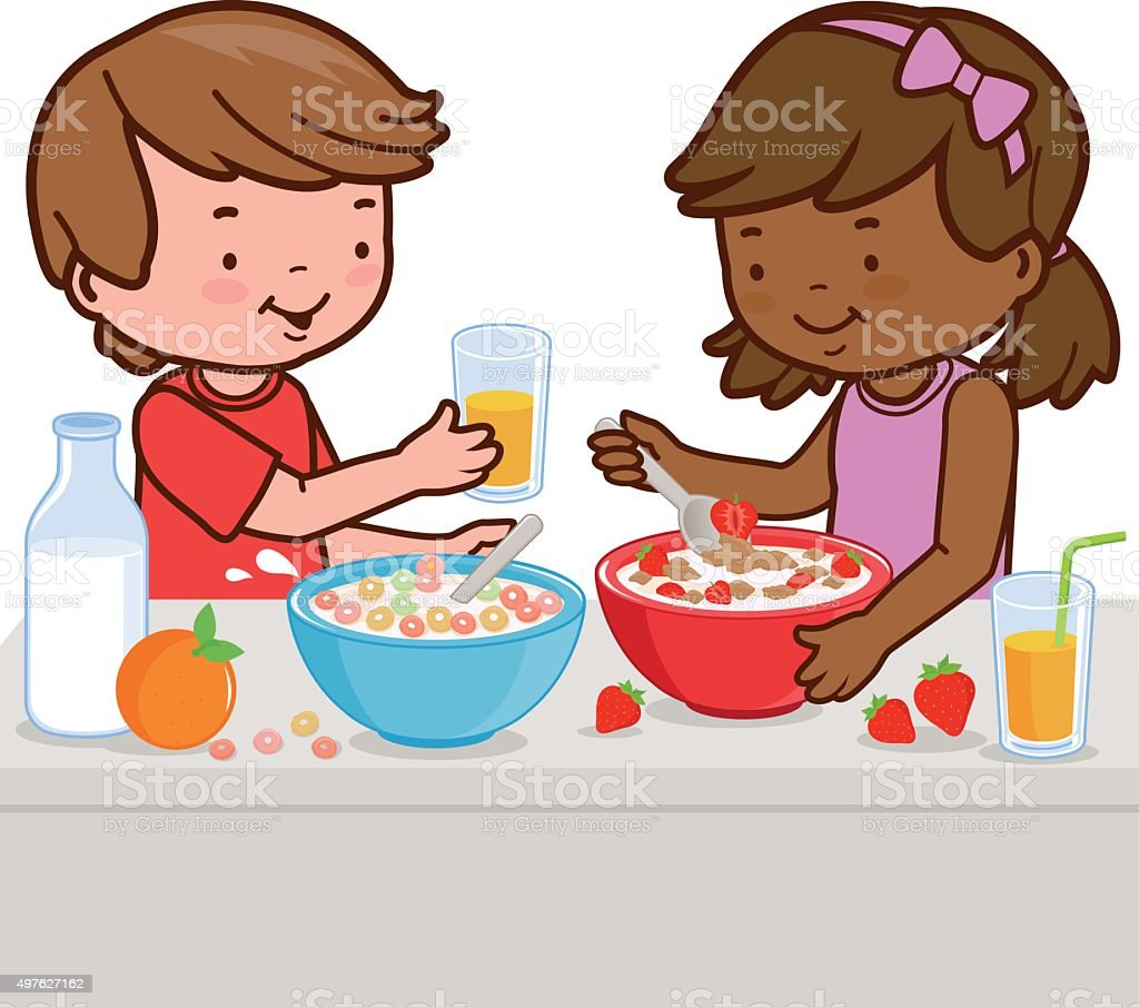 Children having breakfast vector art illustration