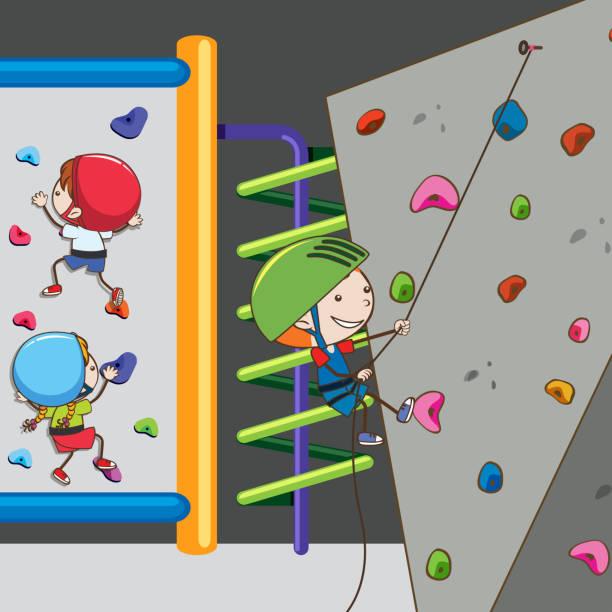 bildbanksillustrationer, clip art samt tecknat material och ikoner med barnen har roligt på klättring gym - gym skratt