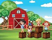 Children having fun  barn