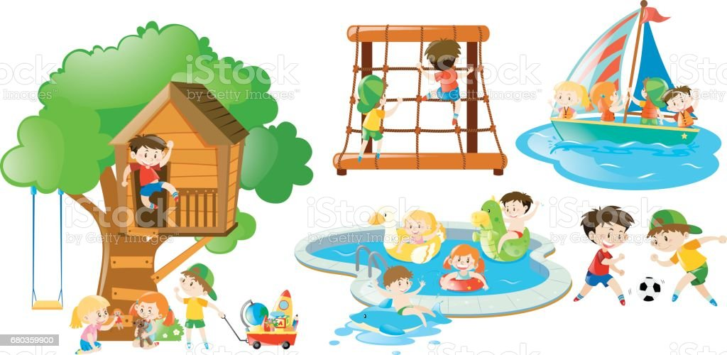 Children having fun doing different activities