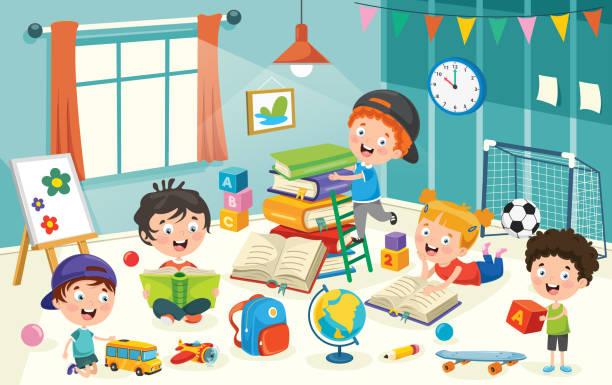 ilustrações, clipart, desenhos animados e ícones de crianças que têm o divertimento em um quarto - salas de aula
