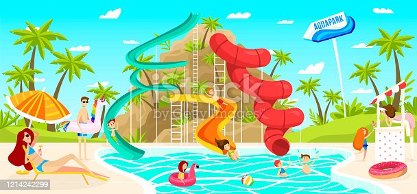 istock Children having fun in outdoor aquapark pool slide, people vector illustration 1214242299