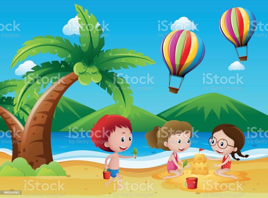 Children having fun on the beach vector art illustration