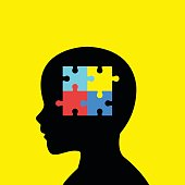 Children Head Silhouette With Autism Icon