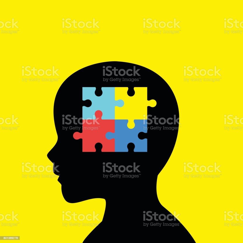 Crianças cabeça silhueta com autismo ícone - ilustração de arte em vetor