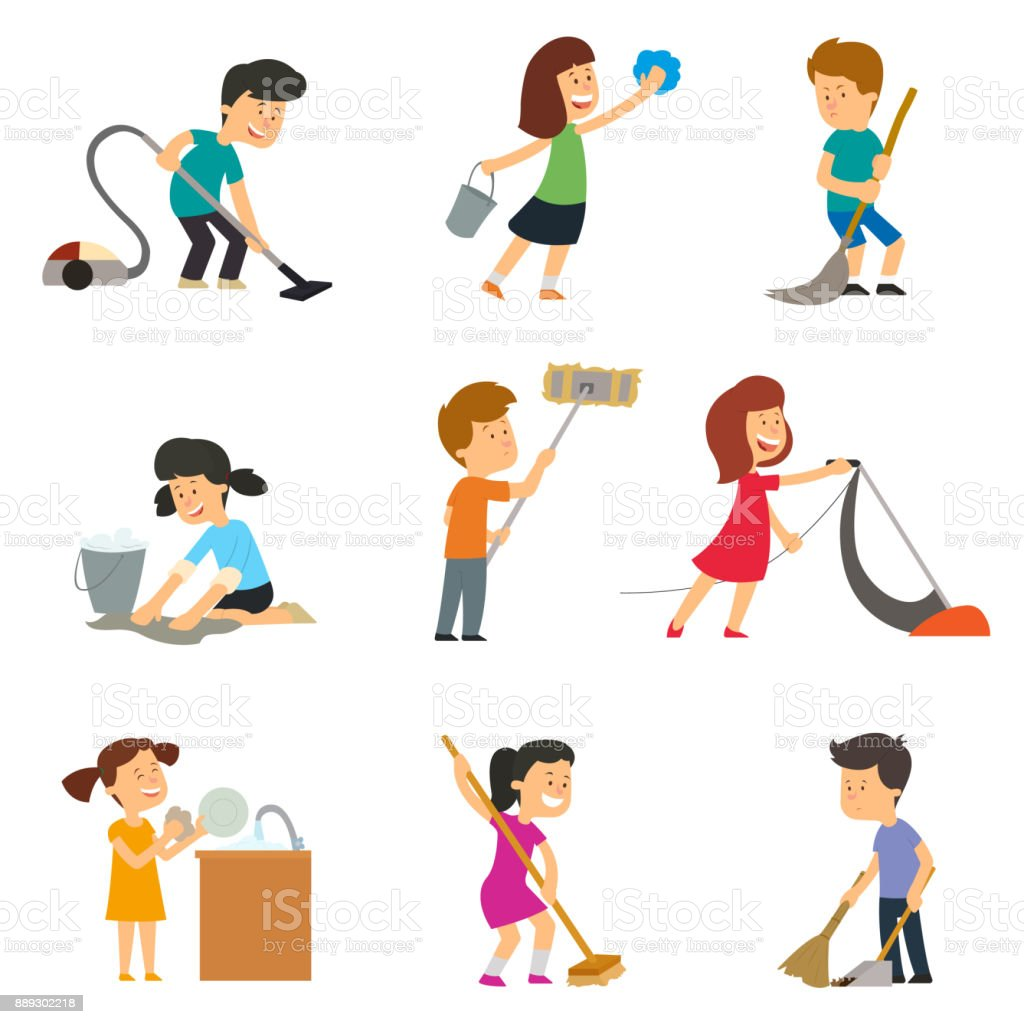 children help their parents with household chores. vector art illustration