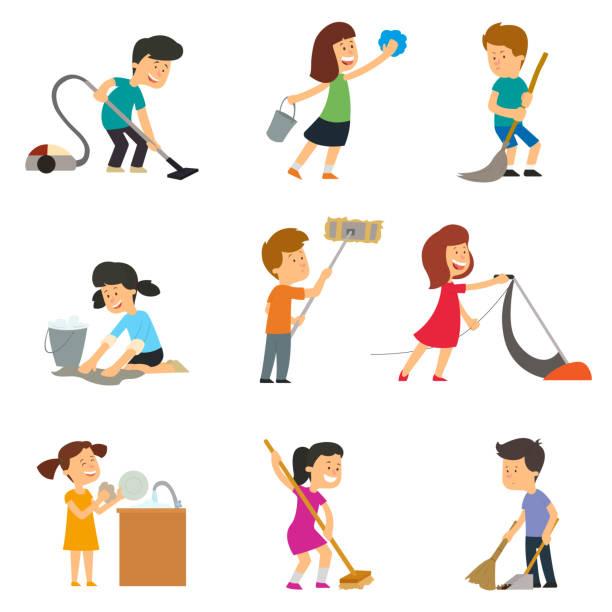 ilustraciones, imágenes clip art, dibujos animados e iconos de stock de los niños ayudan a sus padres con las tareas del hogar. - tareas domésticas