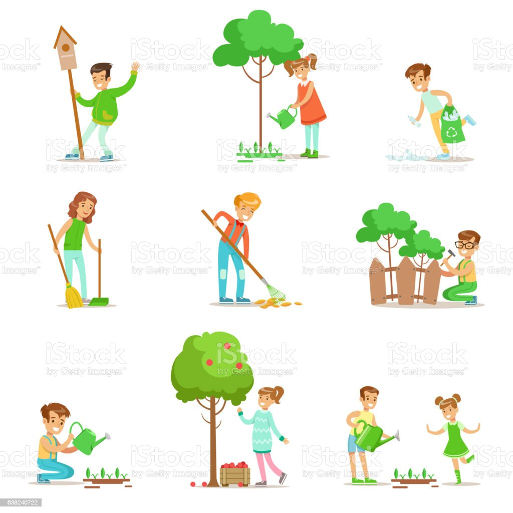 Children Helping In Eco-Friendly Gardening, Collecting vector art illustration