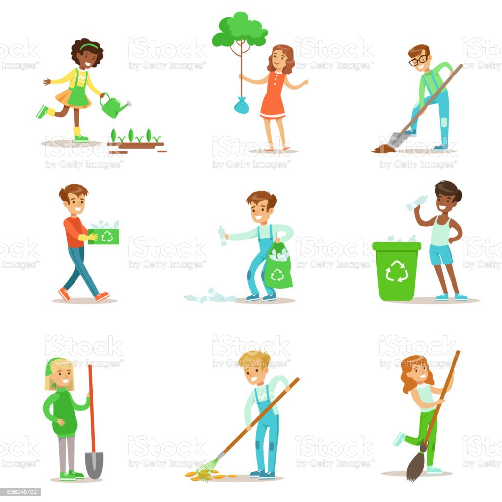 Children Helping In Eco-Friendly Gardening, Planting vector art illustration