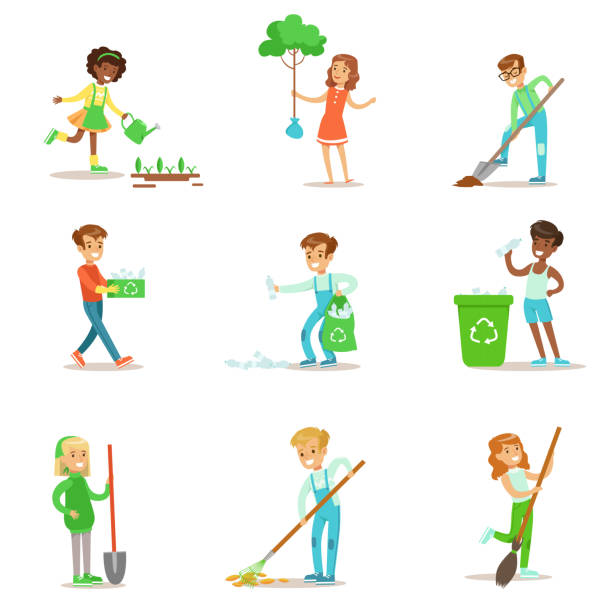 children helping in eco-friendly gardening, planting - child throwing garbage stock illustrations, clip art, cartoons, & icons