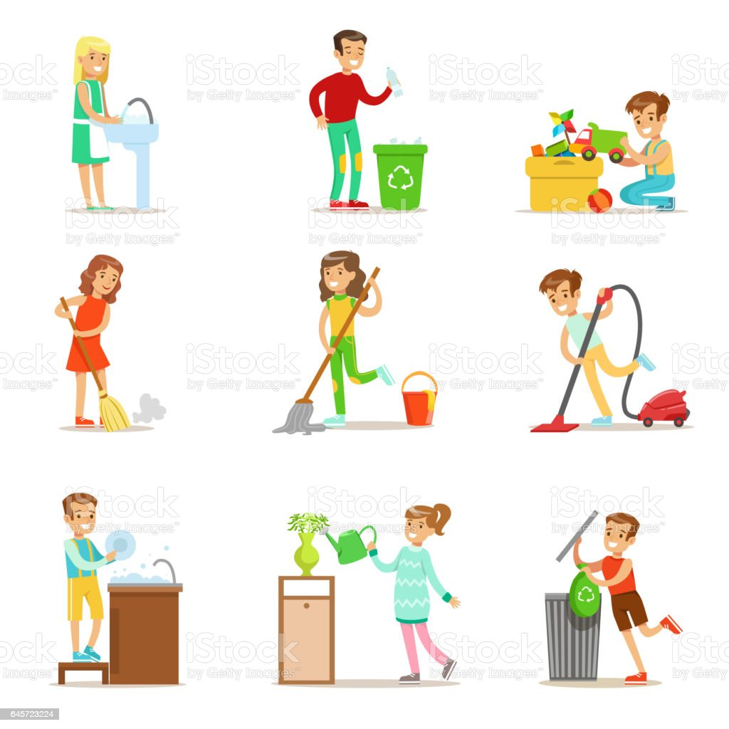 kinder helfen mit nach hause aufr umen waschen den boden m ll zu werfen und bew sserung von. Black Bedroom Furniture Sets. Home Design Ideas