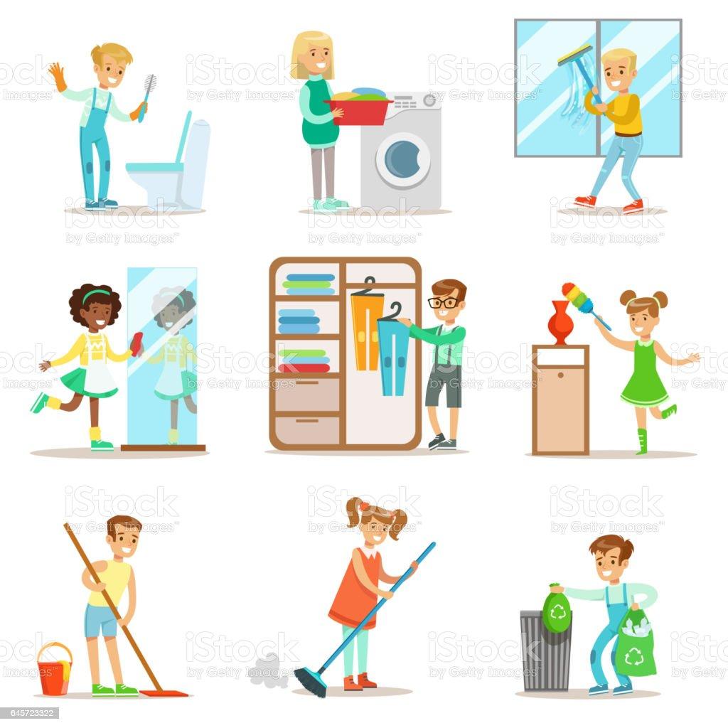 Kinder Helfen Mit Nach Hause Reinigung Waschen Sie Den Boden Müll Zu ...
