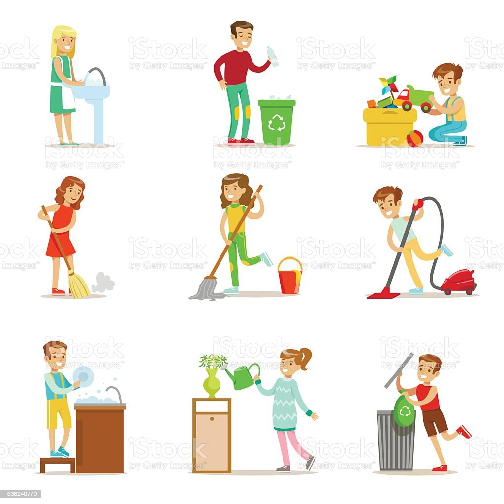 Children Helping With Home Cleanup, Washing The Floor – Vektorgrafik