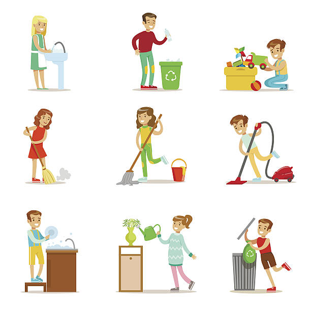 children helping with home cleanup, washing the floor - child throwing garbage stock illustrations, clip art, cartoons, & icons