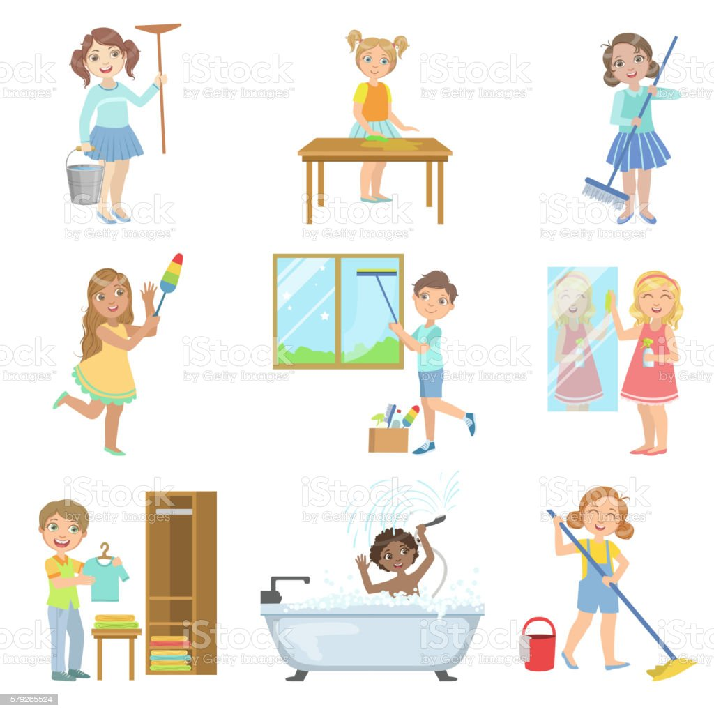 Children Helping With Spring Cleaning vector art illustration