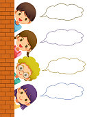 Many children hiding their bodies behind the brick wall, Speech bubble, Cute character cartoon on white background, Suitable for sticker, Children's books and card.- Vector illustration