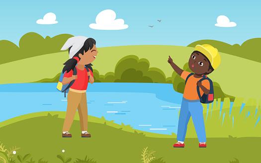 Children hike in nature summer lake landscape, kid scout in trekking adventure together