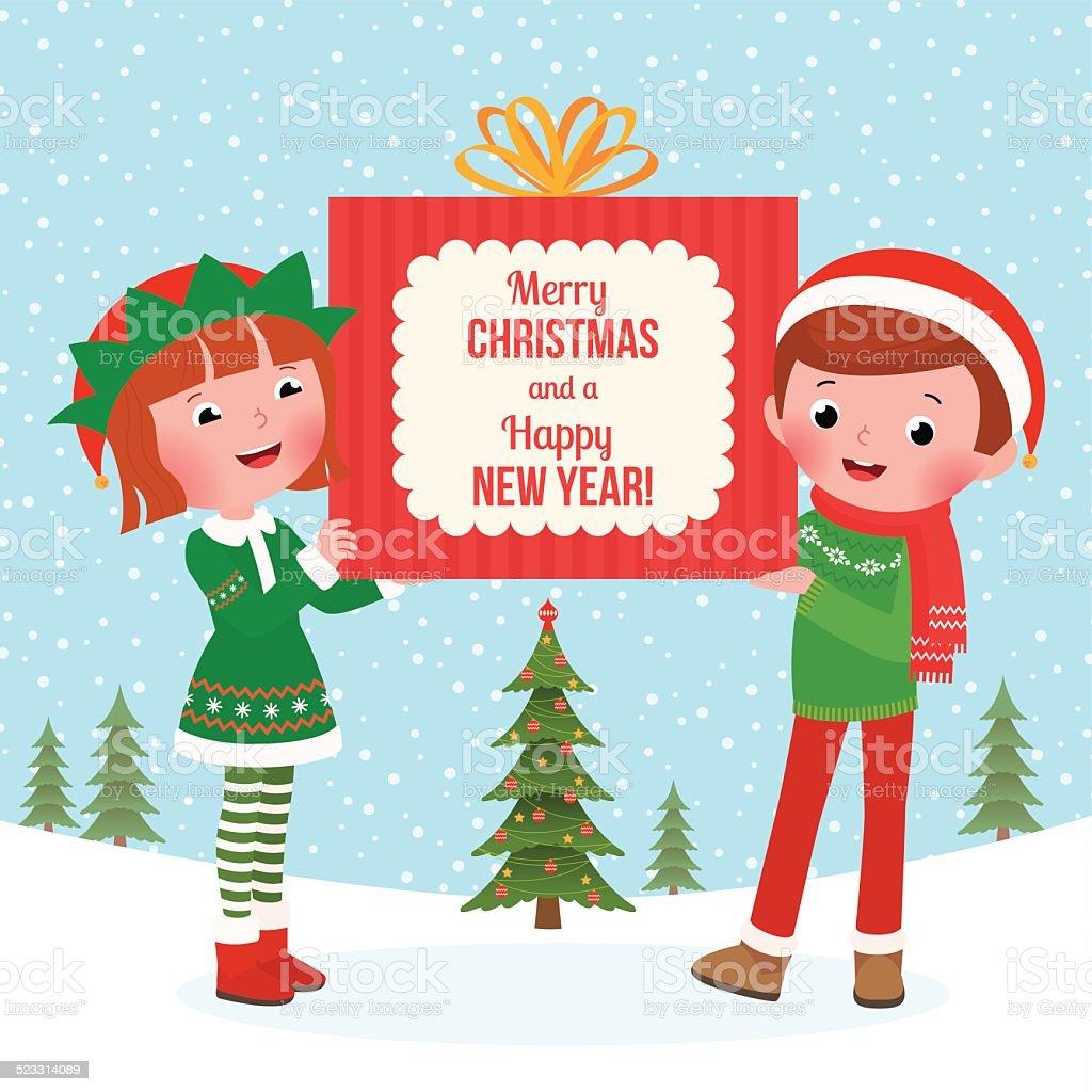 Kinder Halten Sie Eine Große Weihnachtsgeschenk Vektor Illustration ...