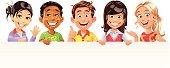 A group of five cheerful children holding a big blank paper ready for your text or commercials. EPS 8, fully editable, grouped and labeled in layers.