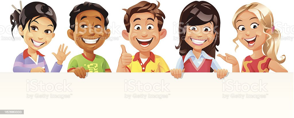 Children Holding a Blank Sign vector art illustration