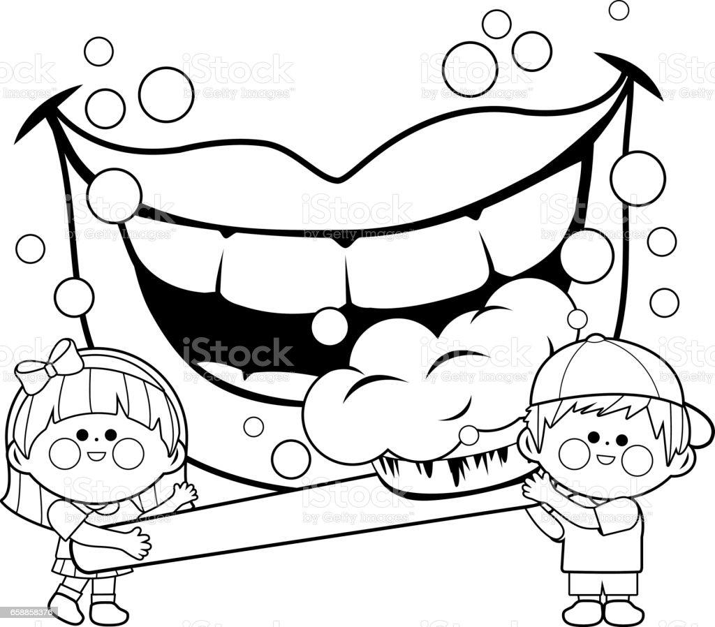 Enfants tenant une brosse à dents et se brosser les dents. Page de livre de coloriage - Illustration vectorielle