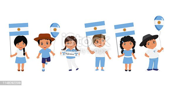 children holding Argentine flag. Modern design template for greeting card, ad, promotion, poster, flyer, blog, article, social media Vector illustration