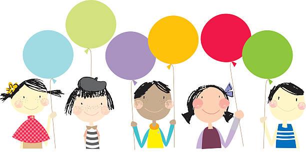 Children holding balloons illustration vektorkonstillustration