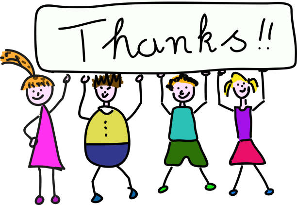 Children holding banner for Thanks A group of children is holding a big banner with the write Thanks over their heads thank you teacher stock illustrations
