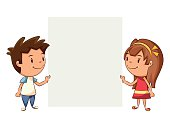 Children holding blank note, cute kids, empty sign, cartoon character, vector illustration, isolated white background