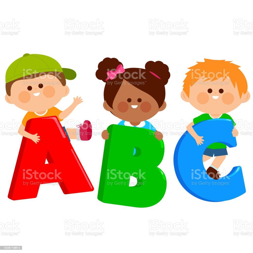 Vetores De Criancas Segurando Dos Desenhos Animados Coloridas