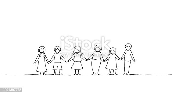 istock Children holding hands drawing images 1294397758