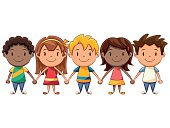 Children holding hands, cute kids making human chain, cute cartoon character, african american, caucasian, vector illustration, isolated, white background